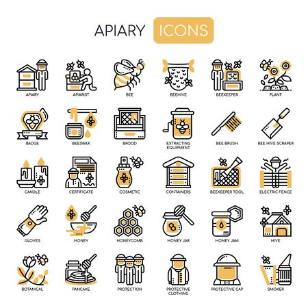 Apiary , Thin Line and Pixel Perfect Icons Illustration