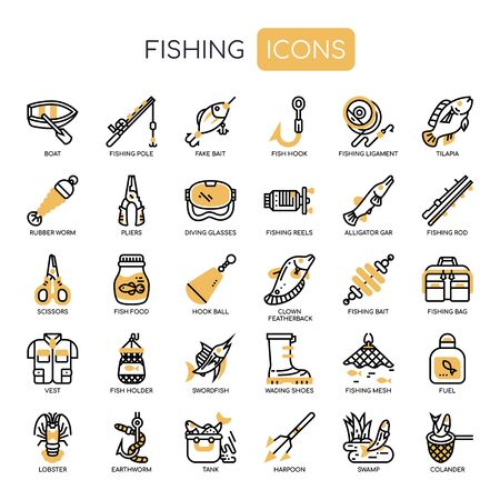 Fishing , Thin Line and Pixel Perfect Icons Vettoriali