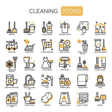Icônes de nettoyage, de lignes fines et de pixels parfaits