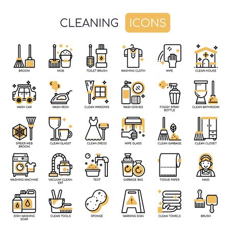 Cleaning , Thin Line and Pixel Perfect Icons Illustration