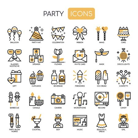 Party , Thin Line and Pixel Perfect Icons