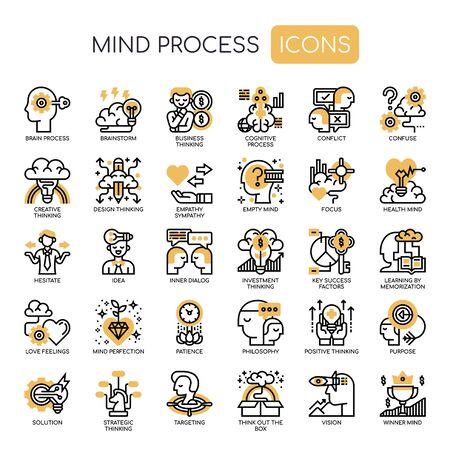 Iconos de procesos mentales, líneas finas y píxeles perfectos