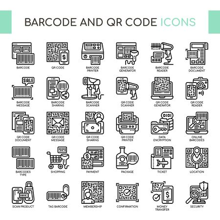 Barcode and QR Code , Thin Line and Pixel Perfect Icons Stock Vector - 130108703