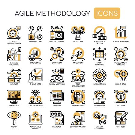 Agile Methodology , Thin Line and Pixel Perfect Icons Stockfoto - 130108704