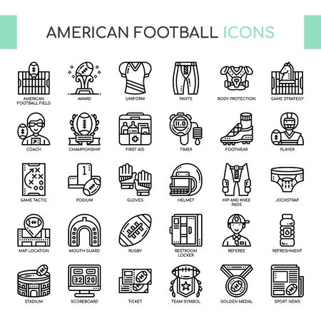 American Football , Thin Line and Pixel Perfect Icons