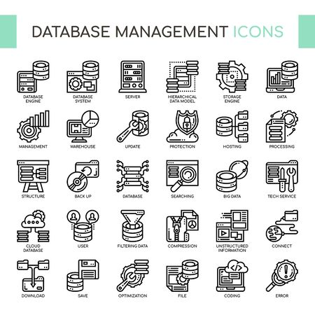 Database Management , Thin Line and Pixel Perfect Icons