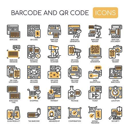 Barcode and QR Code , Thin Line and Pixel Perfect Icons