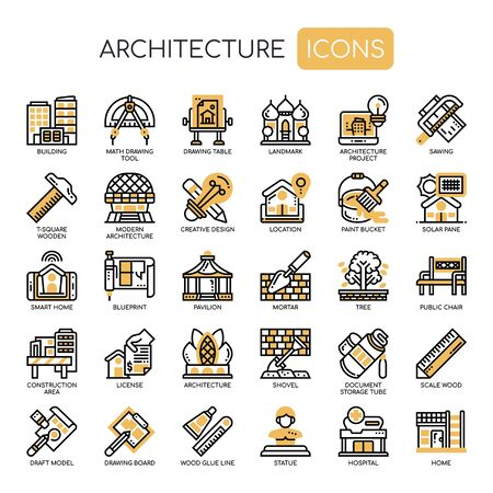 Architecture , Thin Line and Pixel Perfect Icons Foto de archivo - 130108713