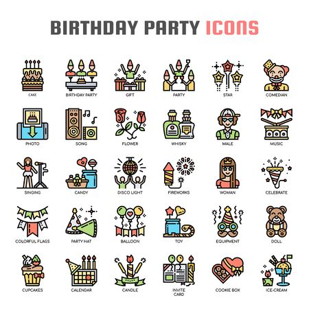 Birthday Party , Thin Line and Pixel Perfect Icons Stock Illustratie