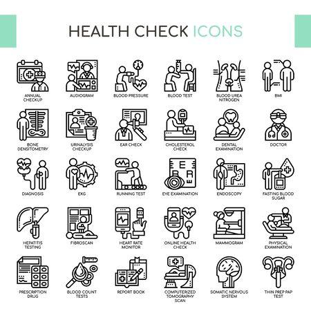 Gesundheitscheck, Thin Line und Pixel Perfect Icons