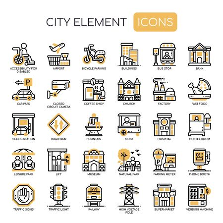 City Elements , Thin Line and Pixel Perfect Icons Stock Vector - 130108457