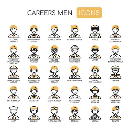 Careers Men , Thin Line and Pixel Perfect Icons Stock Illustratie
