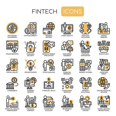 Fintech , Thin Line and Pixel Perfect Icons  イラスト・ベクター素材