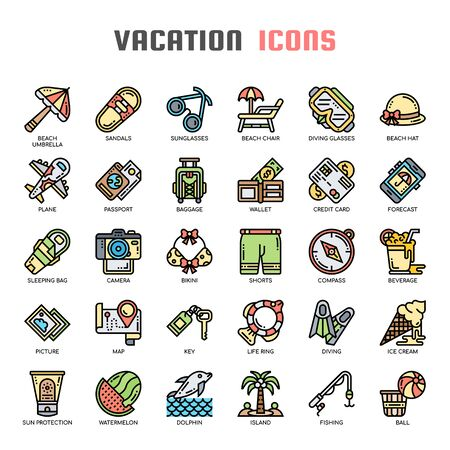 Vacation , Thin Line and Pixel Perfect Icons