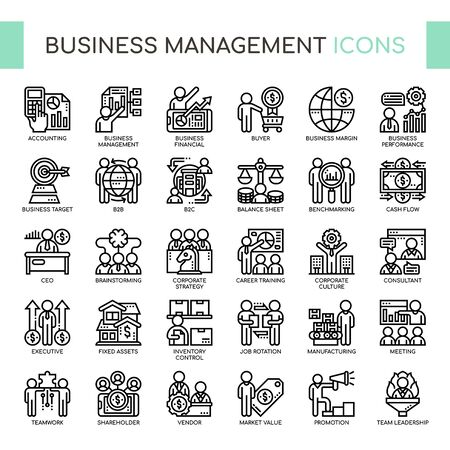Business Management, Thin Line und Pixel Perfect Icons