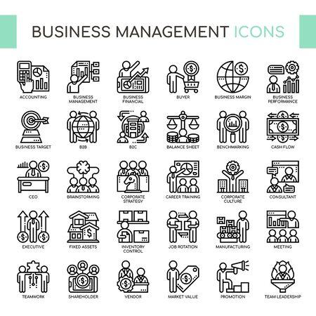 Zarządzanie biznesem, cienka linia i ikony idealne w pikselach
