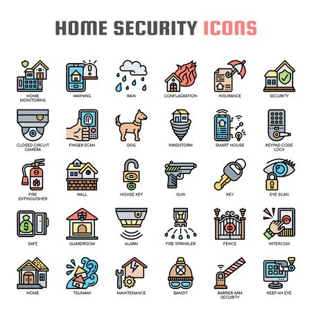 Home Security , Thin Line and Pixel Perfect Icons Stock Vector - 130044365
