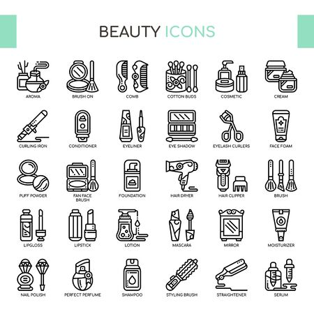 Beauty , Thin Line and Pixel Perfect Icons Çizim