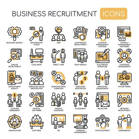 Business Recruitment , Thin Line and Pixel Perfect Icons Illustration