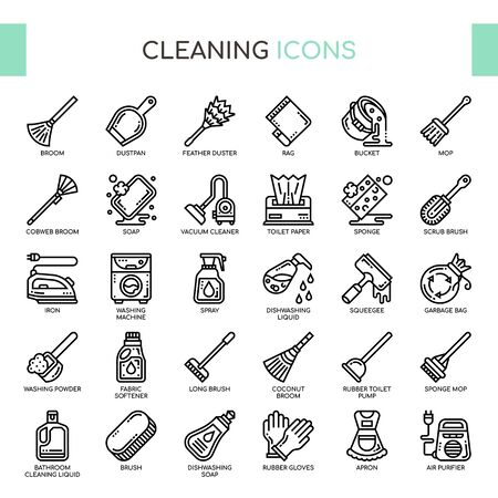 Cleaning , Thin Line and Pixel Perfect Icons  イラスト・ベクター素材