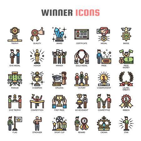 Winner , Thin Line and Pixel Perfect Icons Reklamní fotografie - 130108361
