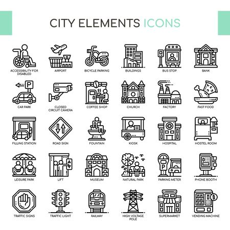 City Elements , Thin Line and Pixel Perfect Icons Stock Vector - 130108369