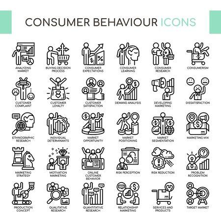 Comportamiento del consumidor, iconos de líneas finas y píxeles perfectos