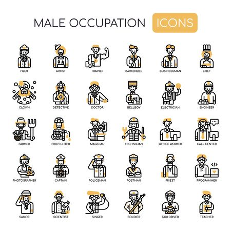 Male Occupation , Thin Line and Pixel Perfect Icons Иллюстрация
