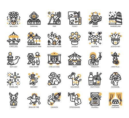 Set of circus thin line and pixel perfect icons for any web and app project.