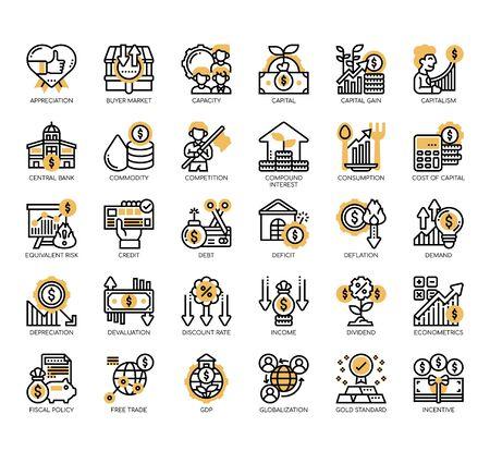 Conjunto de iconos perfectos de píxeles y líneas finas económicas para cualquier proyecto web y de aplicación.