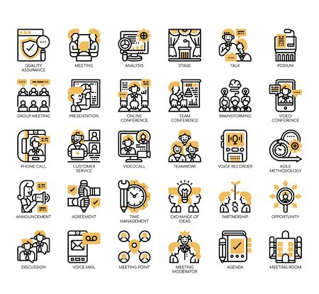 Set of meeting and conference thin line and pixel perfect icons for any web and app project.