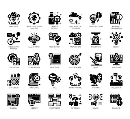 Set of creative process thin line and pixel perfect icons for any web and app project. Vektorové ilustrace