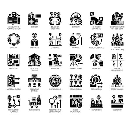 Set of company structure thin line and pixel perfect icons for any web and app project. Illustration
