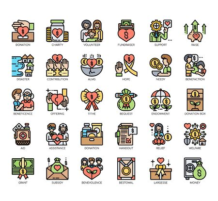Set of charity thin line and pixel perfect icons for any web and app project.