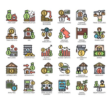 Set of financial crisis thin line and pixel perfect icons for any web and app project.