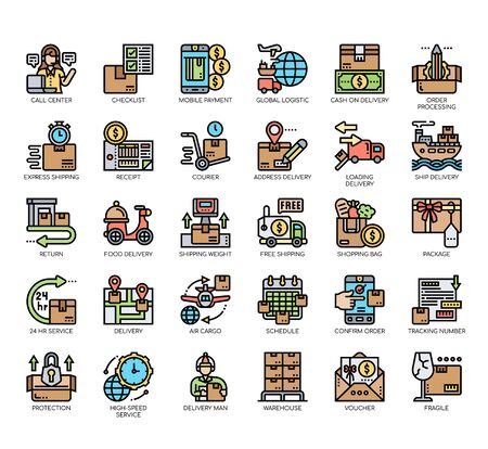 Set of delivery thin line and pixel perfect icons for any web and app project. Vektorgrafik