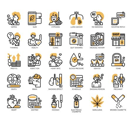 Set of quit smoking thin line and pixel perfect icons for any web and app project. Standard-Bild - 141252039