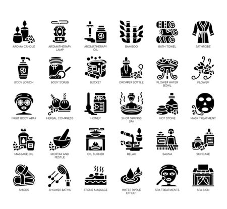 Set of spa thin line and pixel perfect icons for any web and app project. Ilustração