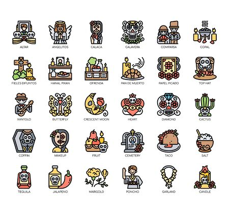 Set of day of the dead thin line and pixel perfect icons for any web and app project.
