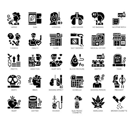 Set of quit smoking thin line and pixel perfect icons for any web and app project. Standard-Bild - 141252044