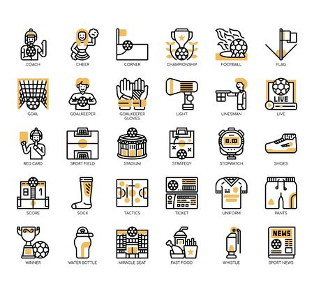 Set of football thin line and pixel perfect icons for any web and app project. Ilustração