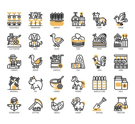 Set of farming thin line and pixel perfect icons for any web and app project.