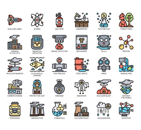 Set of nuclear thin line and pixel perfect icons for any web and app project. Vettoriali