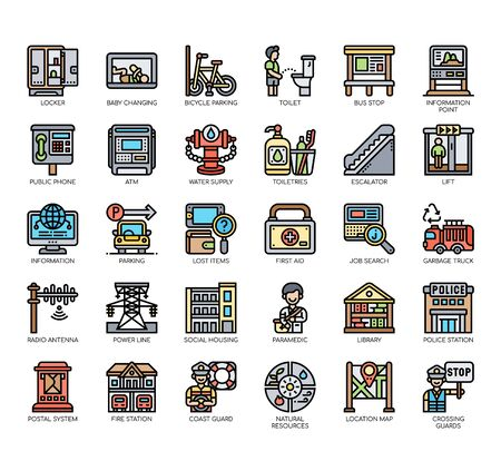 Set of public service thin line and pixel perfect icons for any web and app project.