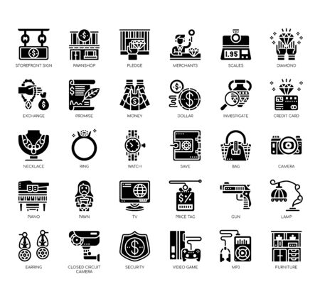 Set of pawnshop thin line and pixel perfect icons for any web and app project.