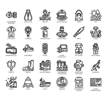 Set of diving thin line and pixel perfect icons for any web and app project.