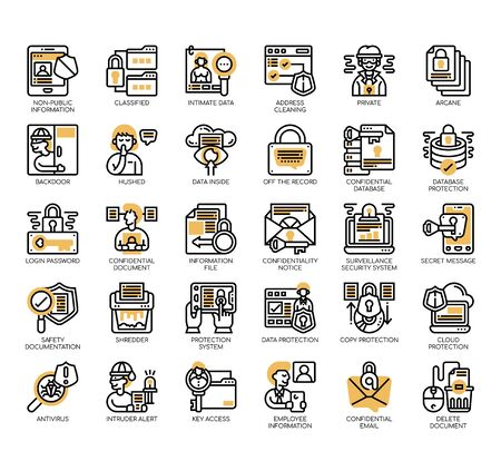 Set of confidential information thin line and pixel perfect icons for any web and app project.  イラスト・ベクター素材