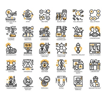 Set of biochemistry thin line and pixel perfect icons for any web and app project.