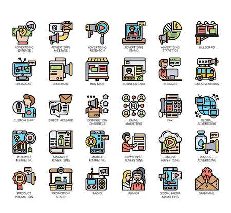 Set of advertising thin line and pixel perfect icons for any web and app project.