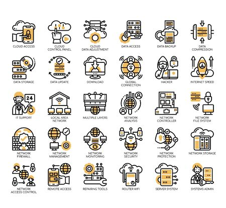 Set of network technology thin line and pixel perfect icons for any web and app project. Vettoriali
